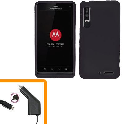For Motorola Droid 3 XT862 Car Charger +Hard Case Black