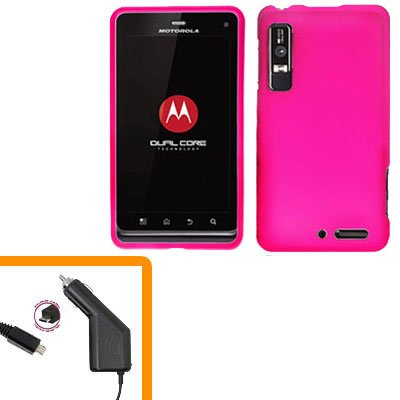 For Motorola XT860 4G / Droid 3 Car Charger +Hard Case H-Pink