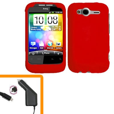 For HTC Wildfire S Car Charger + Cover Hard Case Red