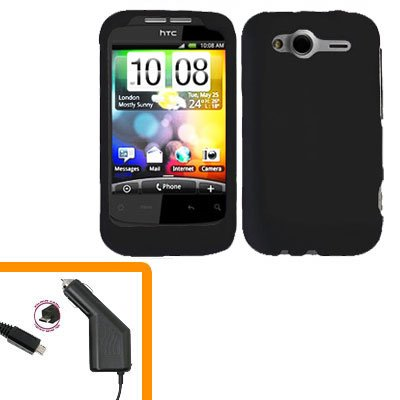 For HTC Wildfire S Car Charger + Cover Hard Case Black