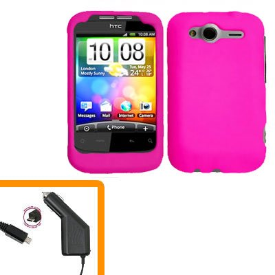 For HTC Wildfire S Car Charger + Cover Hard Case H-Pink