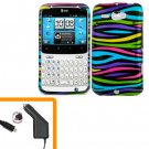 For HTC Status / ChaCha Car Charger + Cover Hard Case Rainbow