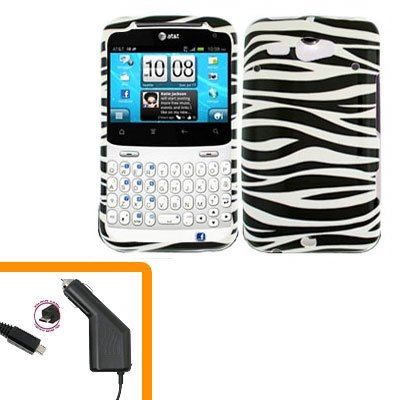 For HTC Status / ChaCha Car Charger + Cover Hard Case Zebra
