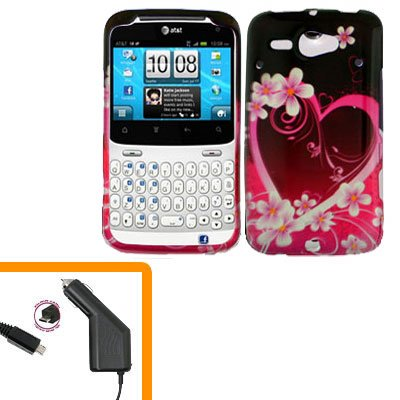 For HTC Status / ChaCha Car Charger + Cover Hard Case Love