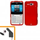 For HTC Status / ChaCha Car Charger + Cover Hard Case Red