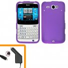 For HTC Status / ChaCha Car Charger + Cover Hard Case Purple