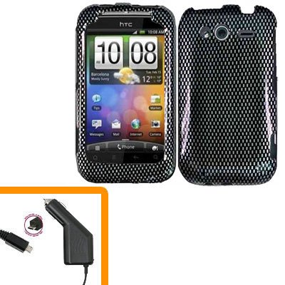 For HTC Wildfire S Car Charger + Cover Hard Case Carbon Fiber