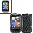 For HTC Wildfire S Cover Hard Case Carbon Fiber + Screen Protector 2-in-1