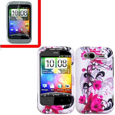 For HTC Wildfire S Cover Hard Case W-Flower + Screen Protector 2-in-1