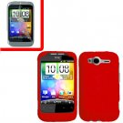 For HTC Wildfire S Cover Hard Case Red + Screen Protector 2-in-1