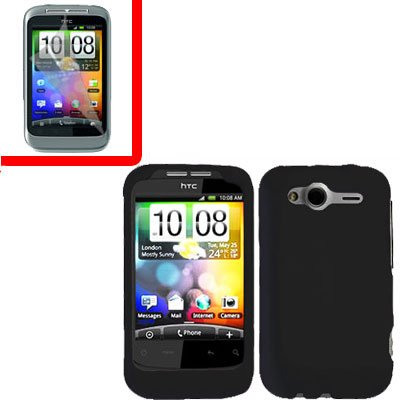 For HTC Wildfire S Cover Hard Case Black + Screen Protector 2-in-1
