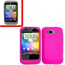 For HTC Wildfire S Cover Hard Case H-Pink + Screen Protector 2-in-1