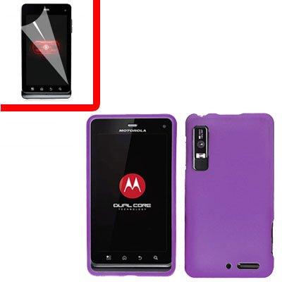 For Motorola XT860 4G Cover Hard Case Purple +Screen 2-in-1