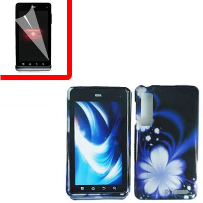For Motorola Droid 3 XT862 Cover Hard Case B-Flower +Screen 2-in-1