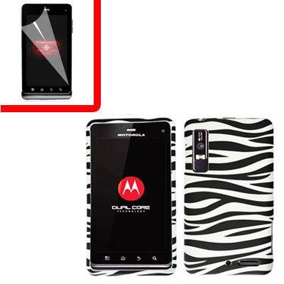 For Motorola Droid 3 XT862 Cover Hard Case Zebra +Screen 2-in-1