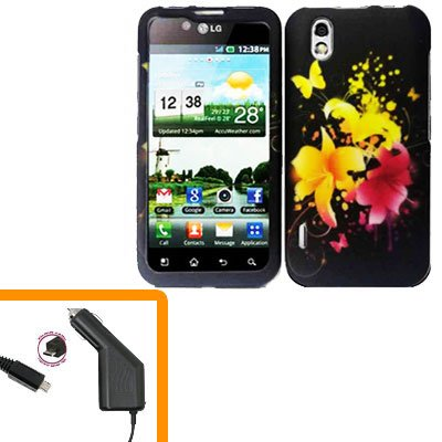 For LG Marquee LS855/ Optimus Black P970 Car Charger +Cover Hard Case Y-Flower  2-in-1