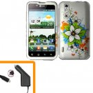 For LG Marquee LS855/ Optimus Black P970 Car Charger +Cover Hard Case C-Flower  2-in-1