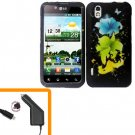 For LG Marquee LS855/ Optimus Black P970 Car Charger +Cover Hard Case T-Flower  2-in-1