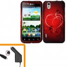 For LG Marquee LS855/ Optimus Black P970 Car Charger +Cover Hard Case Heart  2-in-1