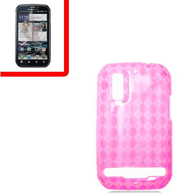 For Motorola Photon 4G/ Electrify MB855 Cover PTU Case D-Clear -Pink +Screen 2-in-1