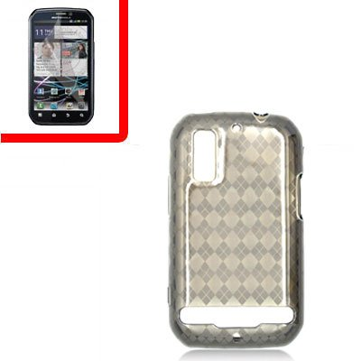For Motorola Photon 4G/ Electrify MB855 Cover TPU Case D-Clear -Smoke +Screen 2-in-1
