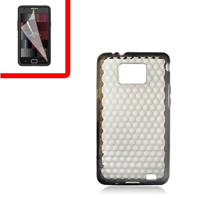 For Samsung Galaxy S II 4G TPU Case H-Clear -Smoke +Screen 2-in-1
