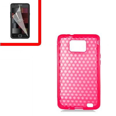 For Samsung Galaxy S II 4G TPU Case H-Clear Red +Screen 2-in-1