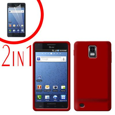 For Samsung Galaxy S Infuse 4G Cover Hard Case Red +Screen Protector