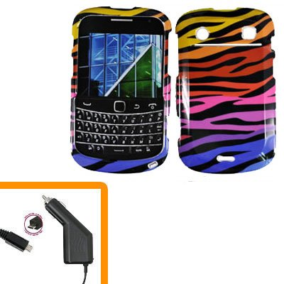 For BlackBerry Bold 9930 4G Car Charger + Cover Hard Case C-Zebra