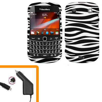 For BlackBerry Bold 9930 4G Car Charger + Cover Hard Case Zebra