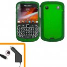 For BlackBerry Bold 9930 9900 4G Car Charger + Cover Hard Case Green