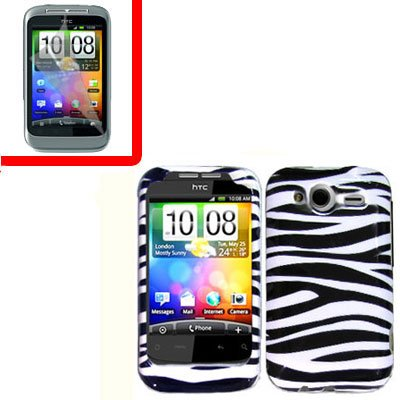 For T-Mobile HTC Wildfire S Cover Hard Case Zebra + Screen Protector 2-in-1