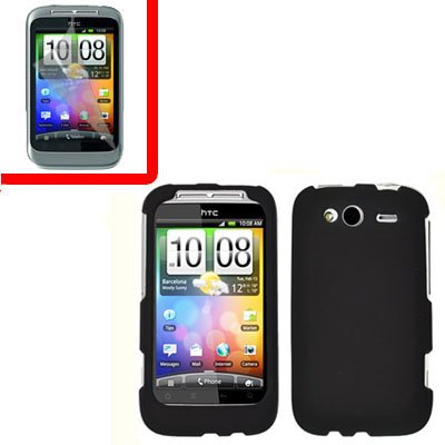 For T-Mobile HTC Wildfire S Cover Hard Case Black +Screen Protector 2-in-1