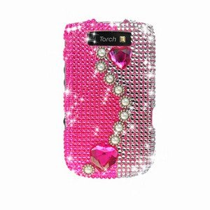 For BlackBerry Torch 9810 Cover Hard Case Rhinestones-Pearl / Pink