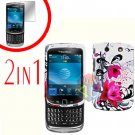 For BlackBerry Torch 9810 4G Cover Hard Case W-Flower + Screen Protector