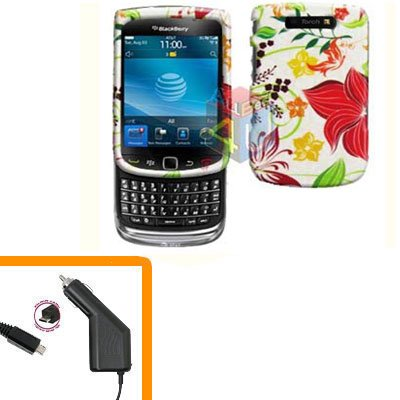For BlackBerry Torch 9810 4G Car Charger + Cover Hard Case R-Flower