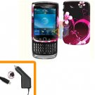 For BlackBerry Torch 9810 4G Car Charger + Cover Hard Case Love