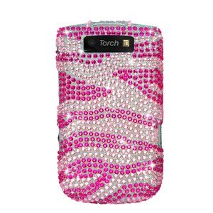 For BlackBerry Torch 9810 4G Cover Hard Case Crystal Bling Pink Zebra