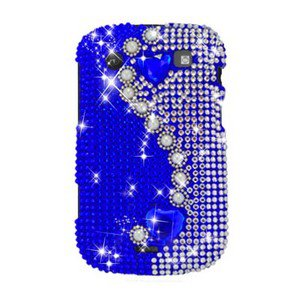 For BlackBerry Bold 9900 9930 Cover Hard Case Rhinestones-Pearl / Blue