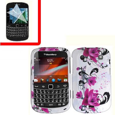For BlackBerry Bold 9930 9900 4G Cover Hard Case W-Flower +Screen