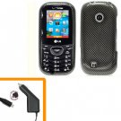 For LG Comos 2 VN251 Car Charger +Cover Hard Case Carbon Fiber 2-in-1