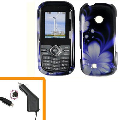 For LG Comos 2 VN251 Car Charger +Cover Hard Case B-Flower 2-in-1