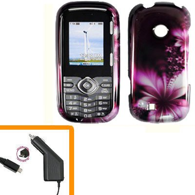For LG Comos 2 VN251 Car Charger +Cover Hard Case L-Flower 2-in-1