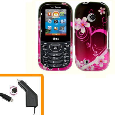 For LG Comos 2 VN251 Car Charger +Cover Hard Case Love 2-in-1