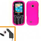 For LG Comos 2 VN251 Car Charger +Cover Hard Case H-Pink 2-in-1