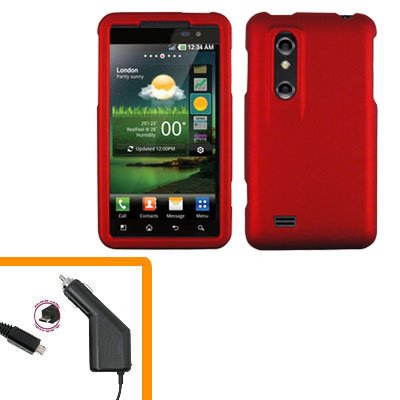 For HTC Thrill 4G / Optimus 3D Car Charger +Cover Hard Case Red 2-in-1