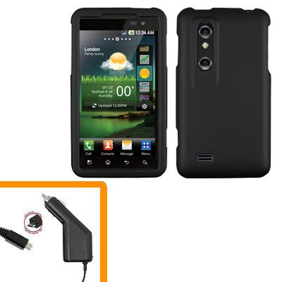 For HTC Thrill 4G / Optimus 3D Car Charger +Cover Hard Case Black 2-in-1