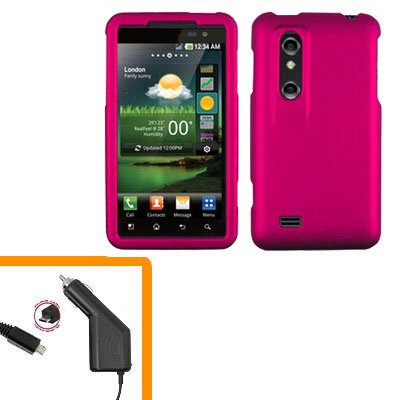 For HTC Thrill 4G / Optimus 3D Car Charger +Cover Hard Case R-Pink 2-in-1