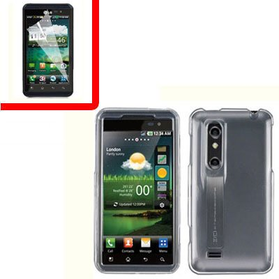 For LG Thrill 4G / Optimus 3D Cover Hard Case Clear +Screen 2-in-1