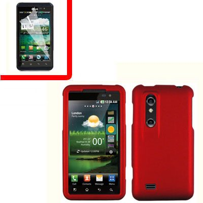 For LG Thrill 4G / Optimus 3D Cover Hard Case Red +Screen 2-in-1